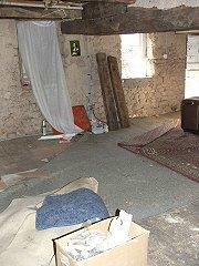Exposed beams, parquet floor